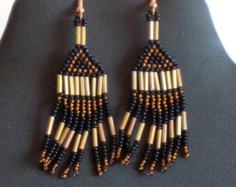 Native American bead weaving earrings in copper and black