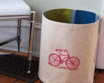 Extra Large Organic Cotton Canvas Storage Basket /Hand Printed Vintage Bicycles/  Colorful Cotton Lining/ Made To Order