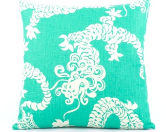 Lilly Pulitzer Dragon Tail Lights Pillow Cover 18x18, Dragon Pillow, Teal Throw Pillow, Green and White Pillow, Reversible, Lilly Dragon