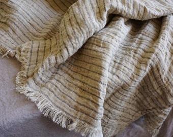 Vintage linen blanket--natural gray with Black stripes