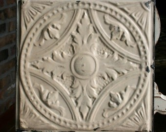 "Genuine Antique Ceiling Tile -- 12"" x 12"" -- Creamy Tan Colored Paint -- Intricate Design"