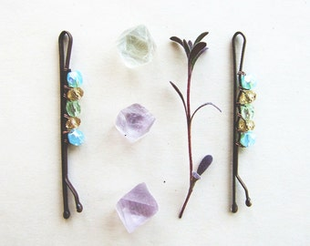 Bohemian Bobby Pins, Glass Crystal Hair Pins, Boho Hair Accessory, Retro Colorful Bobby Pins