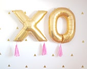 XOXO Gold Valentines Day Tassel Balloons, Love Wedding Decor, Photo Booth Prop, Party Decorations, Engagement and Birth Announcement