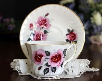 Staffordshire Bone China, Vintage Teacup, Royal Sutherland, Floral Tea Cup, Cup and Saucer 13545