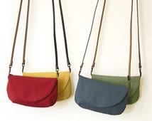 Small Cotton Purse · Crossbody Bag · Coach purse · Wee Purse · Genuine Leather Strap