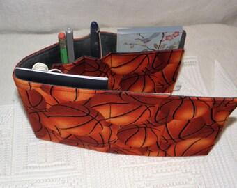 Flat Organizer Insert, 7 Pockets, Gym Bag, Briefcase, Tote, Backpack, Travel Bag, Duffle Bag, Basketball Print, Ready to Ship