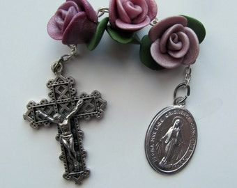 Rose Garden Three Hail Mary Devotion, Three Toned Purple