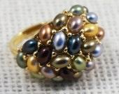 Kenneth Jay Lane KJL Designer Gold Tone Earth Tone Faux Pearl Cluster Cocktail Ring