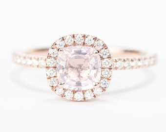 Sale - CERTIFIED - GIA Certified Square Cushion Light Peach Pink Sapphire & Diamond Halo Engagement Ring 14K Rose Gold