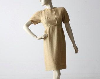 vintage 60s tweed wiggle dress, gold woolen dress