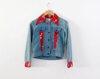 SALE 1970s patchwork denim jacket, vintage calico inlay crop jean jacket