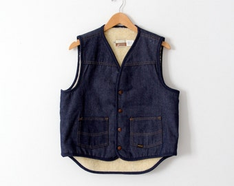 FREE SHIP  vintage 1970s denim fleece vest, Sears Western Wear men's vest