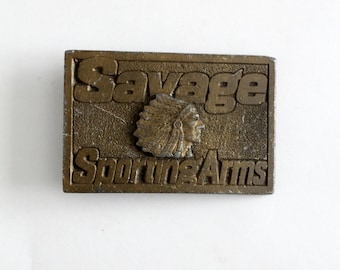 FREE SHIP  vintage brass buckle, Savage Arms rectangle plate style belt buckle