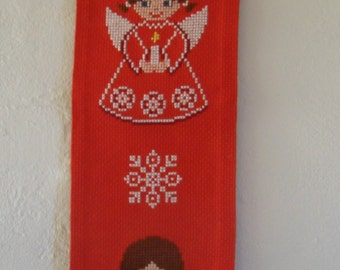 Vintage Danish cross stitched bell pull / sweet angels   / 70s