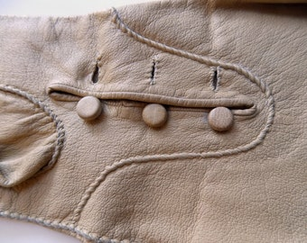 Vintage hand made kid leather gauntlet gloves