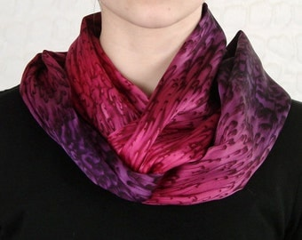 Luxurious Raspberry and Purple Hand Dyed Silk Infinity Scarf