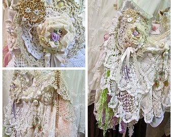 Shabby Doily Purse, OOAK handmade, romantic lace bag, layers doilies, buttons beads, romantic lace bag, shabby and chic bag