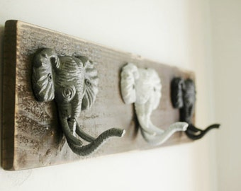 Elephant Decor, trio wall decor for hanging light jackets scarves or jewelry great kitchen decor bedroom decor entryway decor