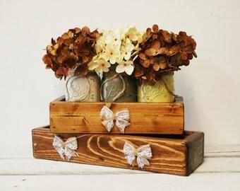 Rustic Centerpiece, Wood mason jar box, rustic decor, shabby chic, farmhouse decor, summer centerpiece, Mason jar caddy, stained wooden box