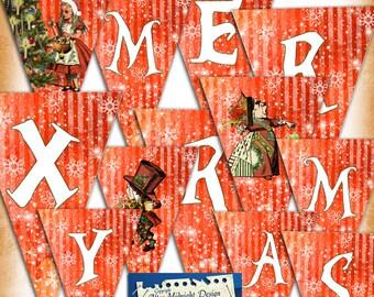 Alice Christmas Bunting digital printable bunting download, party printables digital download