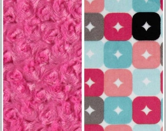 Adult Size Minky Blanket/Throw ~~ pink/multi squares blanket/throw