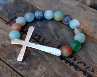 Hammered Pewter Cross & Amazonite Bracelet