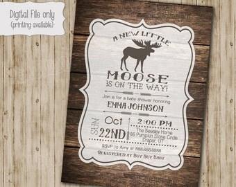 Moose Baby Shower Invitation, Wood Rustic Invite, Printable, Lumberjack Invitation, Woodland Winter Baby Shower, Rustic Baby shower