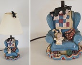 Vintage 1995 Kitty Lamp 4 Cats with Chair by FIGI Graphics
