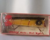 Vintage Wood Fishing Lure Heddon Dowagiac Lure 2500L Lucky 13 Collector Lures Camping Lake Boat Vintage 1980s
