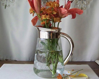 Vintage Silver Plate Pitcher Etched Glass Classic Water Pitcher Flower Vase Shabby Cottage Decor Vintage 1950s