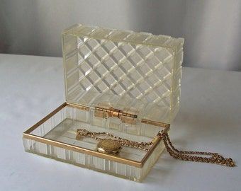 Vintage Lucite Trinket Box Gold Tone Trim Dresser Box Diamond Textured Keepsake Box Vintage 1950s