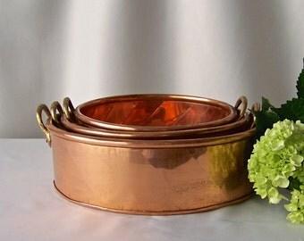 Vintage Copper Decorative Cake Pans Copper Kitchen Copper Home Decor Rustic Kitchen Solid Copper Pans 1990s