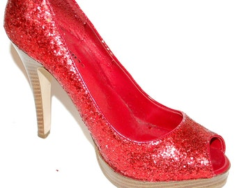 Vintage Red Sequinned Peeptoe Platform Pumps