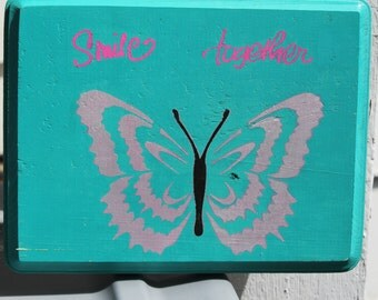 Wooden stenciled Butterfly wallhanging, handpainted