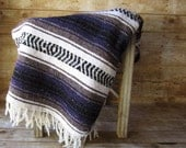 Reserved Vintage Purple or Brown Saltillo Blanket Serape - Purple and Gray-  Brown and Black Southwestern Throw