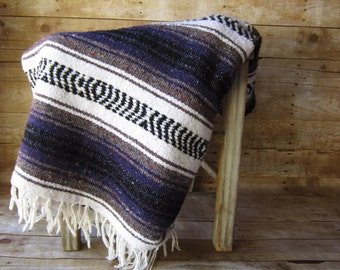 Vintage Purple Saltillo Blanket Serape - Purple and Gray- Southwestern Throw
