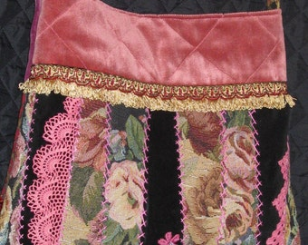 Boho Handbag .Velvet, Tapestry and Lace Quilt Purse. Embroidered Cross body Bag