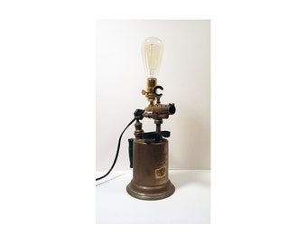 Industrial Vintage Torch Table Lamp - Clayton and Lambert Salvaged Upcycle Light - OOAK