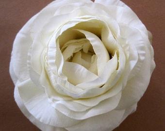 "3.5"" Cream Silk Flower Ranunculus Brooch Pin"