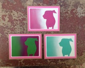 ARF Stencil Card Set With White And Bright Pink Trim.