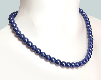 Classic Deep Purple Glass Pearl Necklace