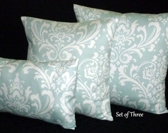 Throw Pillows, Decorative Pillows, Cushion Covers, Accent Pillow -  Set of Three - 20 Inch, 18 Inch and 12x18 Lumbar - Powder Blue and White