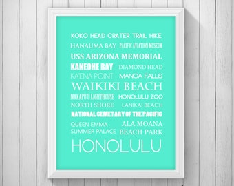 Honolulu, Hawaii Typography Word Art Decorative Printable 5x7 8x10