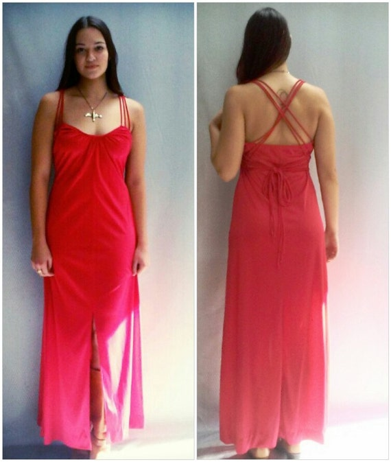 vtg 1970s red disco maxi dress / 70s knit maxi dress / Slit up front / s, m