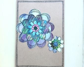 Paper Flower Garden series 1 - 5x7 (PFGL-0010) - Handmade Blank Card