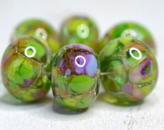 lamp work beads... SRA handmade, lampwork beads, pastel beads, multicolor beads set of (6) for making jewelry 90316-14