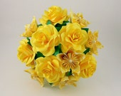 Origami Flowers with Roses / Handmade Yellow Paper Roses