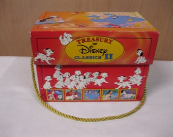 Treasury of Disney Classics Carry Case Music Box - 5 books - The Little Mermaid, Beauty And The Beast, Aladdin, Pocahontas & 101 Dalmations