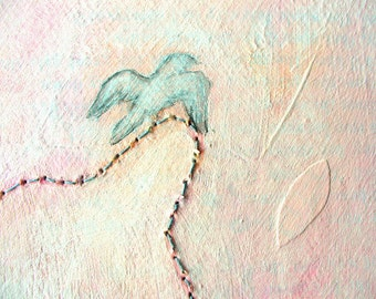 mixed media painting, original art, mixed media collage, minimalist art painting - undoing the laces
