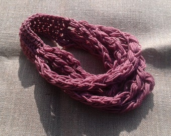 Crochet Scarf Necklace - Dusty Pink
